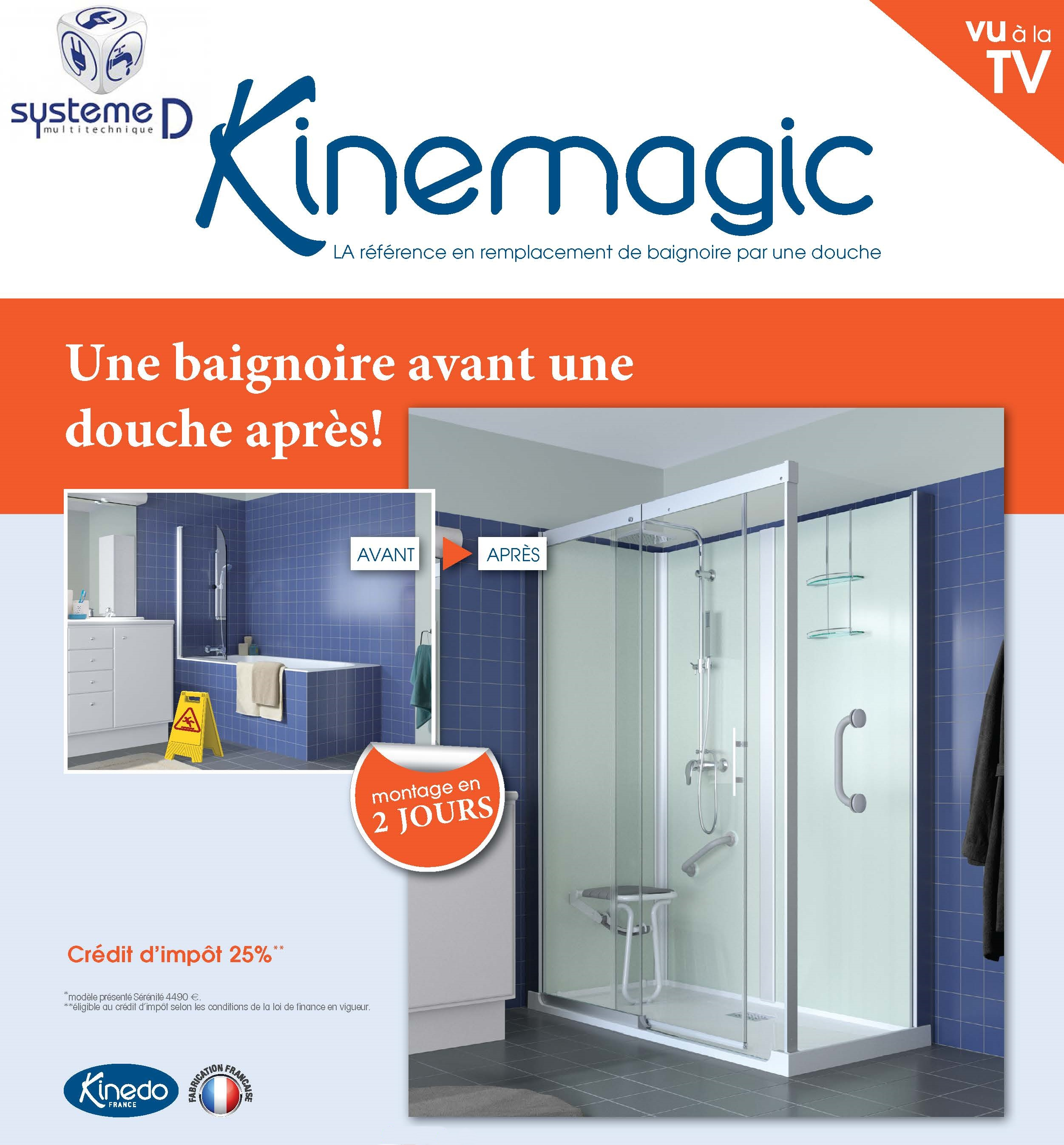 remplacement d 39 une baignoire par une douche kinemagic de chez kinedo troyes saint parres systeme. Black Bedroom Furniture Sets. Home Design Ideas